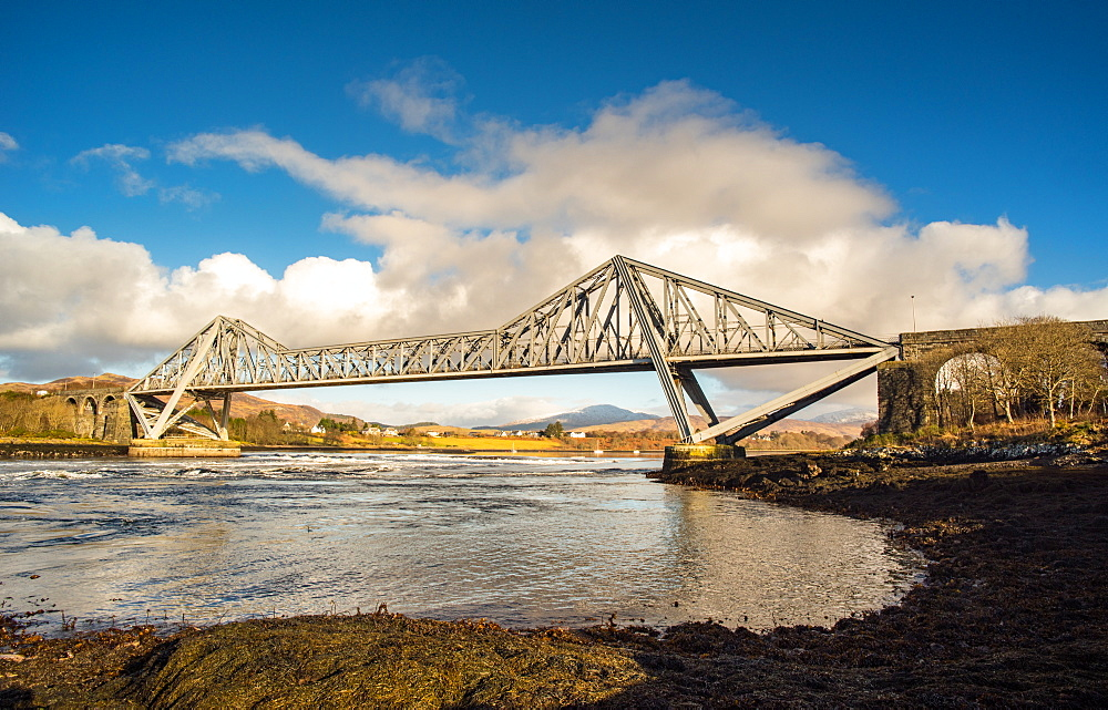 Morning sunlight on the Connel Bridge over Loch Etive, Highlands, Scotland, United Kingdom, Europe