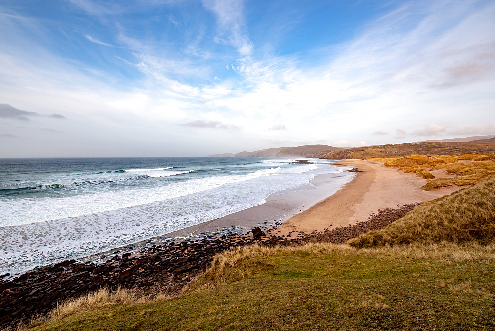 Sandwood Bay, Sutherland, Scotland, UK. Cape Wrath far distance. - 1209-210