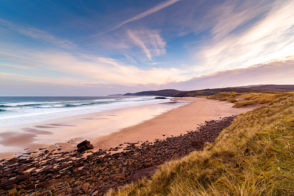 Sandwood Bay, Sutherland, Scotland, UK. Early morning. Cape Wrath far distance.