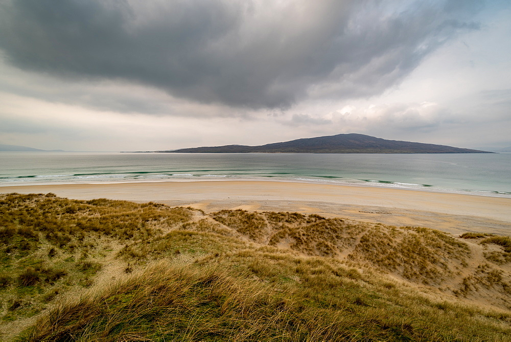 Luskentyre Beach, West Harris, Outer Hebrides. Taransay far distance.
