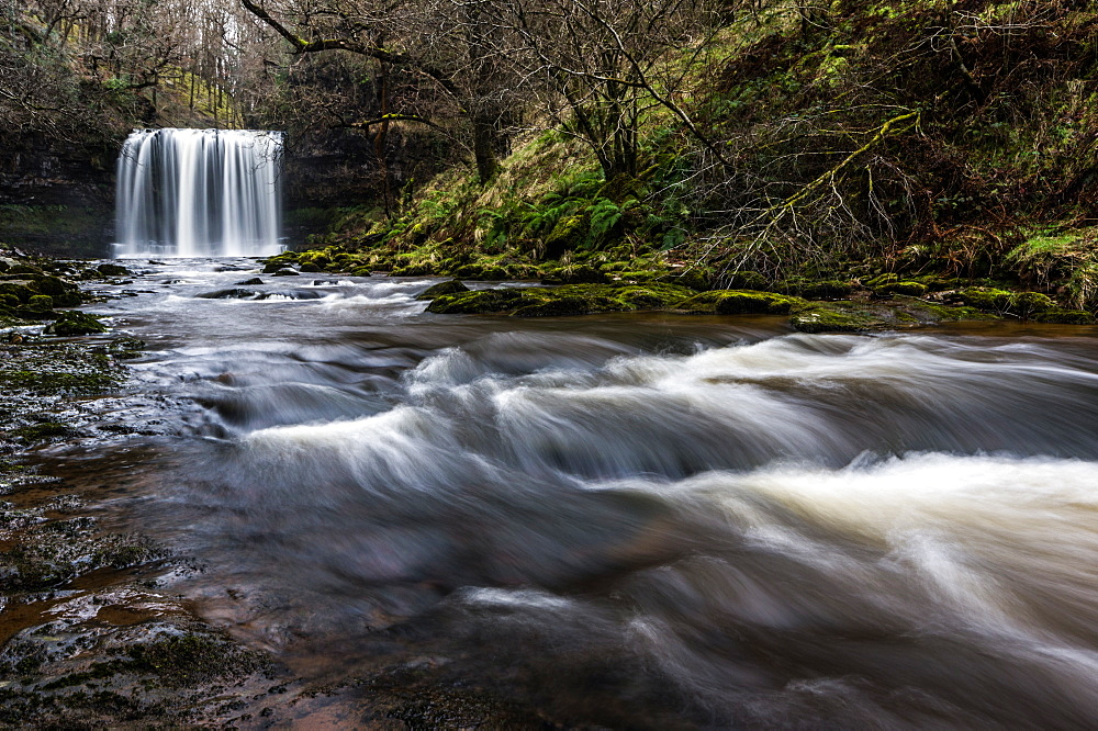 Sgwd yr Eira waterfall, Pontneddfechan, Wales. Waterfall country. Brecon Beacons. - 1209-237