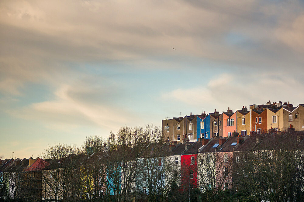 The multicoloured houses of Totterdown, Bristol. As seen from Victoria Park.