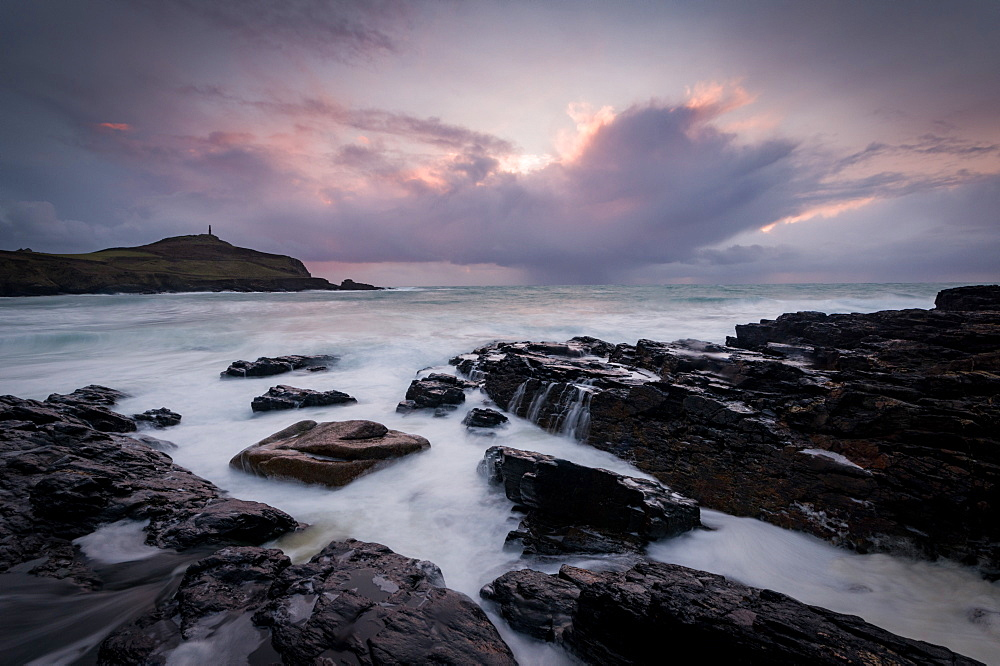 Cape Cornwall, as seen from Kenidjack Valley, Cornwall. Storm. Sunset.