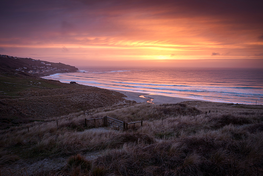 Sennen Beach, Sennen, Cornwall. Sunset.