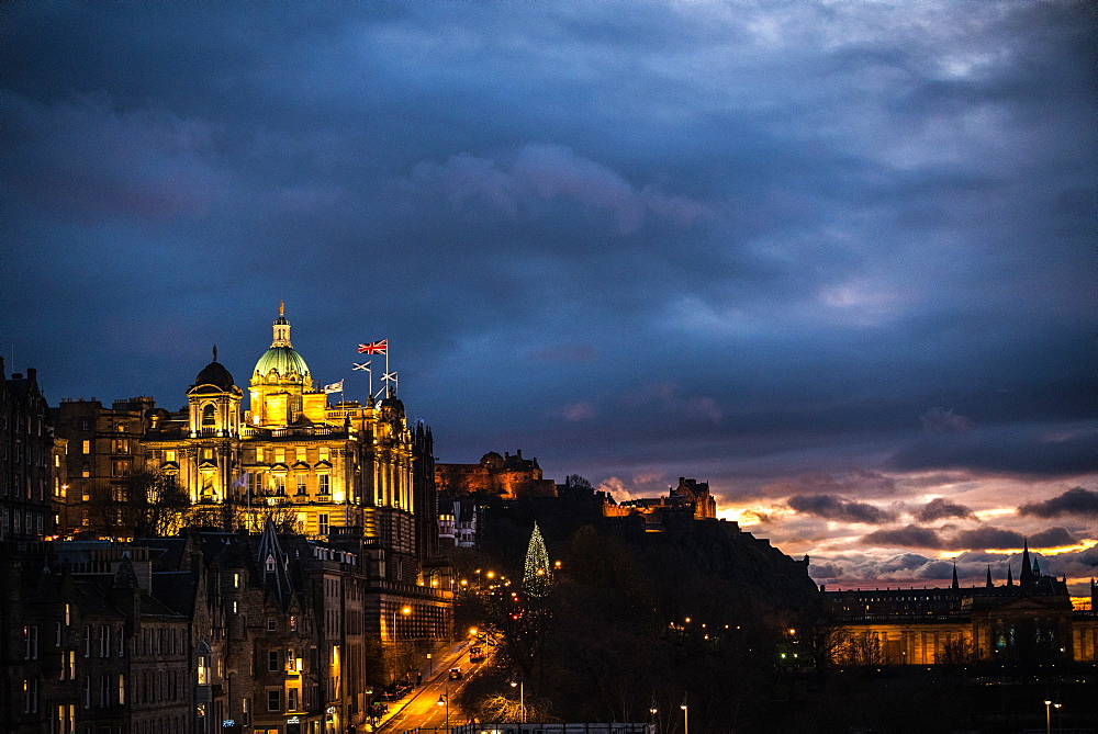 The Museum on the Mound, Edinburgh, Scotland. Sunset.
