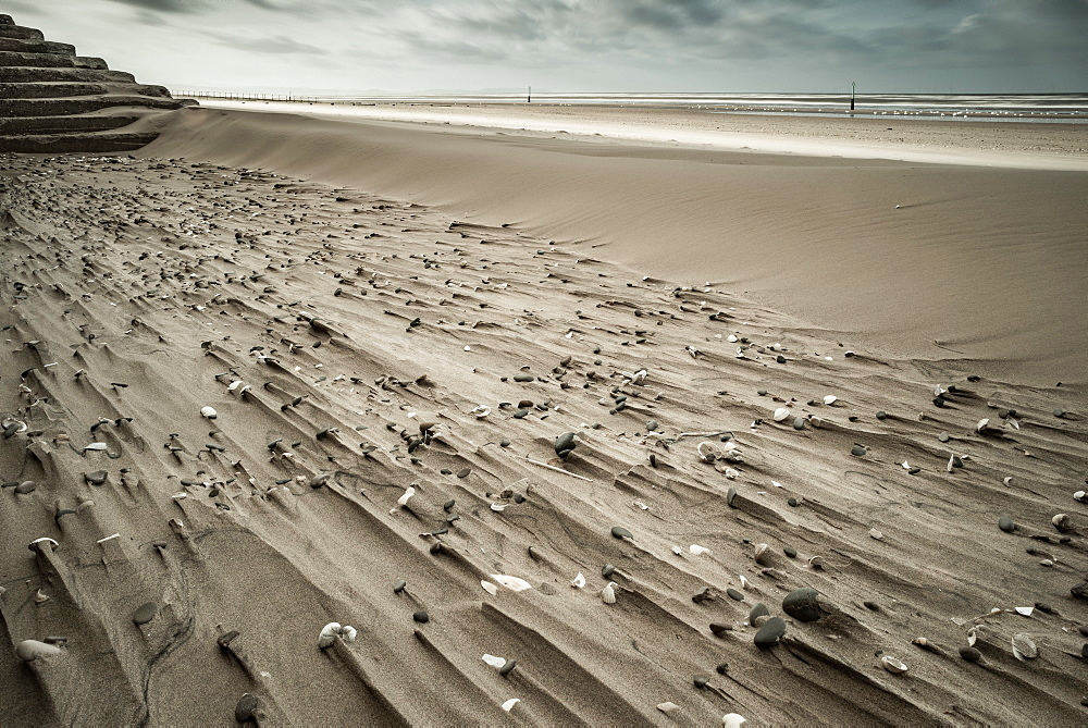 Sand patterns, Rhyl, Denbighshire, North Wales, United Kingdom, Europe