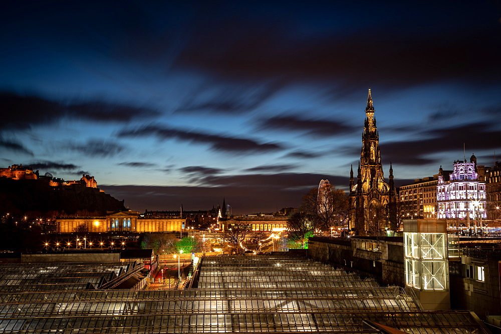 Scott Monument, Waverley Station at night, Edinburgh, Scotland, United Kingdom, Europe