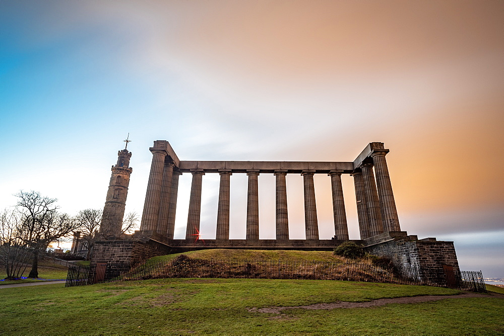 National Monument of Scotland at dusk, Calton Hill, Edinburgh, Scotland, United Kingdom, Europe