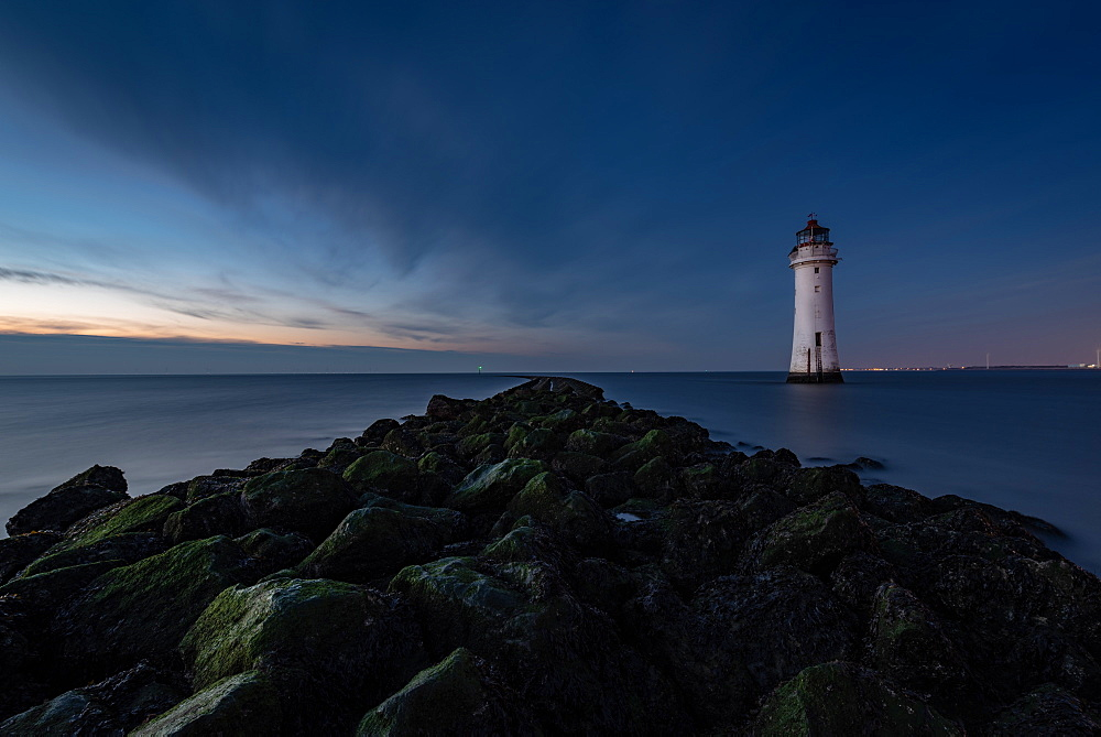 New Brighton Lighthouse, Wallasey. Dusk.