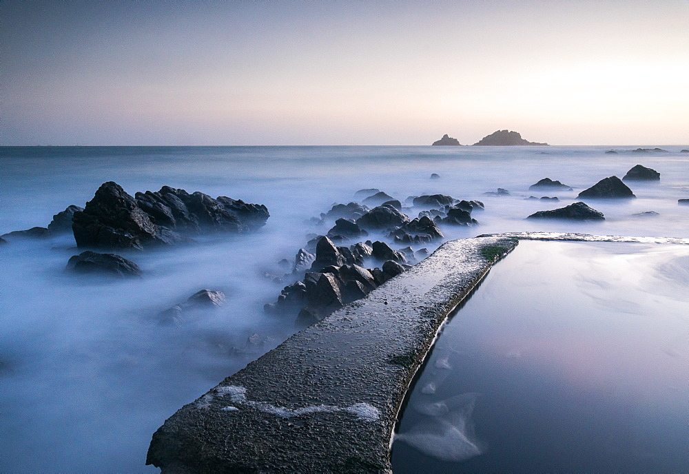 Sunset at Cape Cornwall, Brisons, Cornwall, England, United Kingdom, Europe - 1209-63