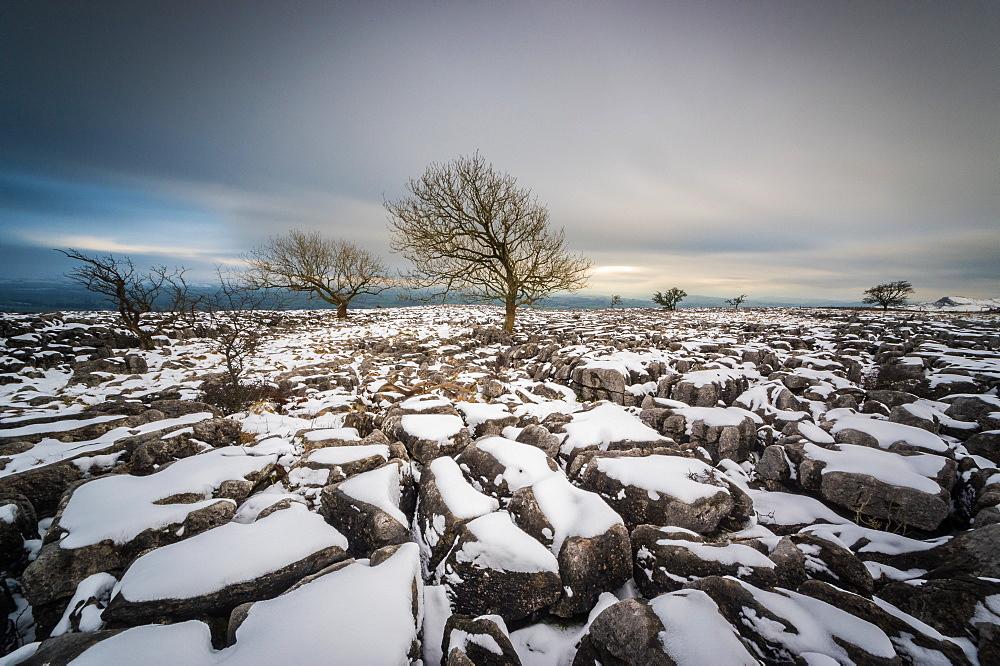 Twistleton Scar End in snow, Ingleton, Yorkshire Dales, Yorkshire, England, United Kingdom, Europe - 1209-75