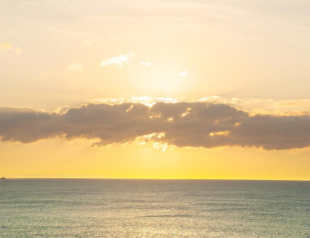 Late evening sun over a calm sea, United Kingdom, Europe
