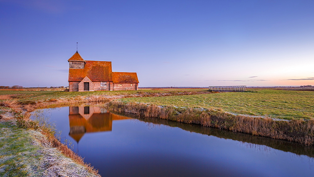 Fairfield Church (St. Thomas a Becket Church) at dawn, Romney Marsh, near Rye, Kent, England, United Kingdom, Europe - 1213-100