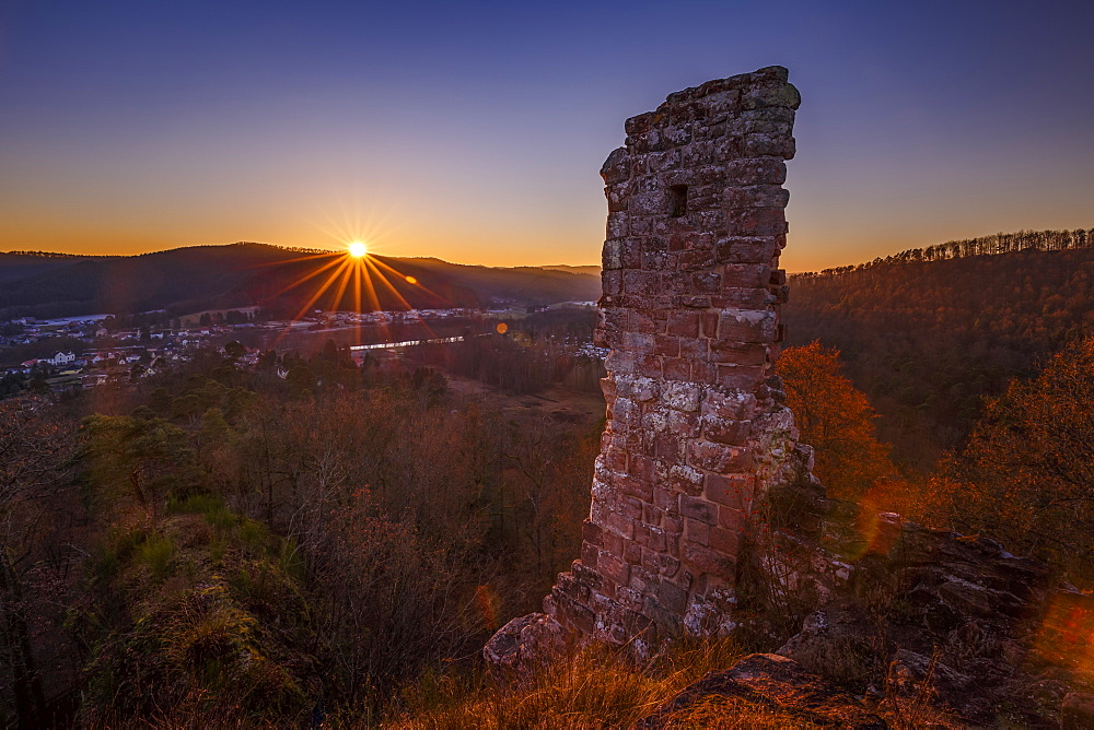 Sunset over the Chateau de Ramstein, a ruined castle in the commune of Baerenthal, in the Moselle region, France, Europe - 1213-101