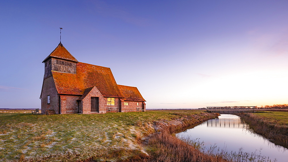 Fairfield Church (St. Thomas a Becket Church) at dawn, Romney Marsh, near Rye, Kent, England, United Kingdom, Europe - 1213-103