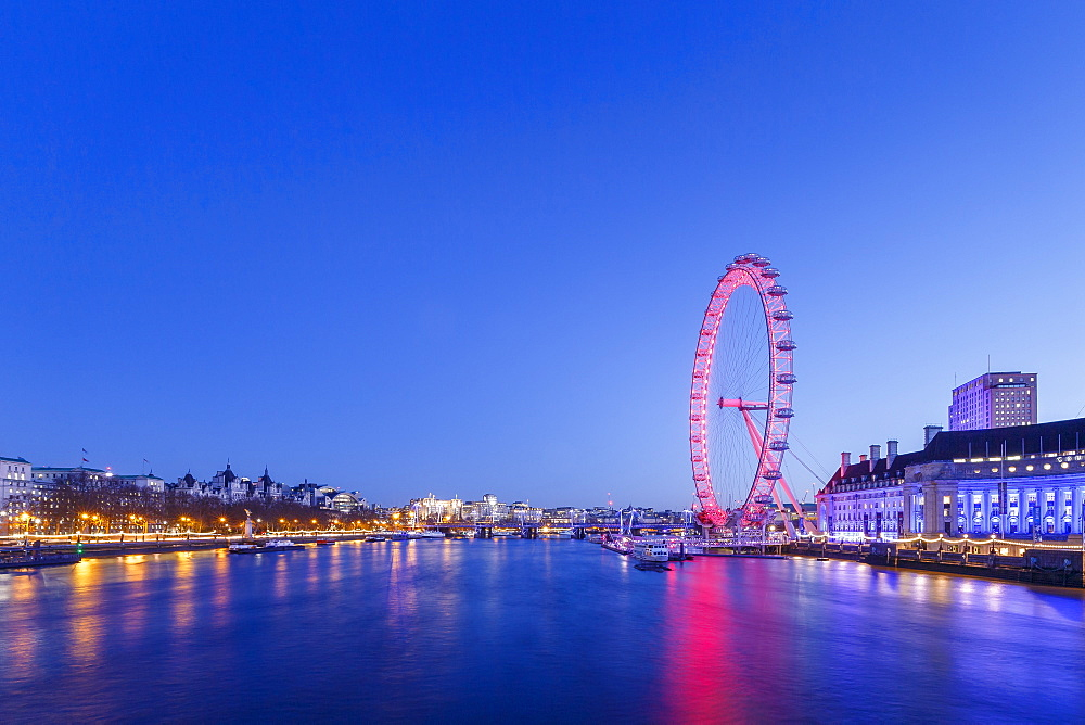 London Eye illuminated at night with view of the River Thames, London, England, United Kingdom, Europe - 1213-12