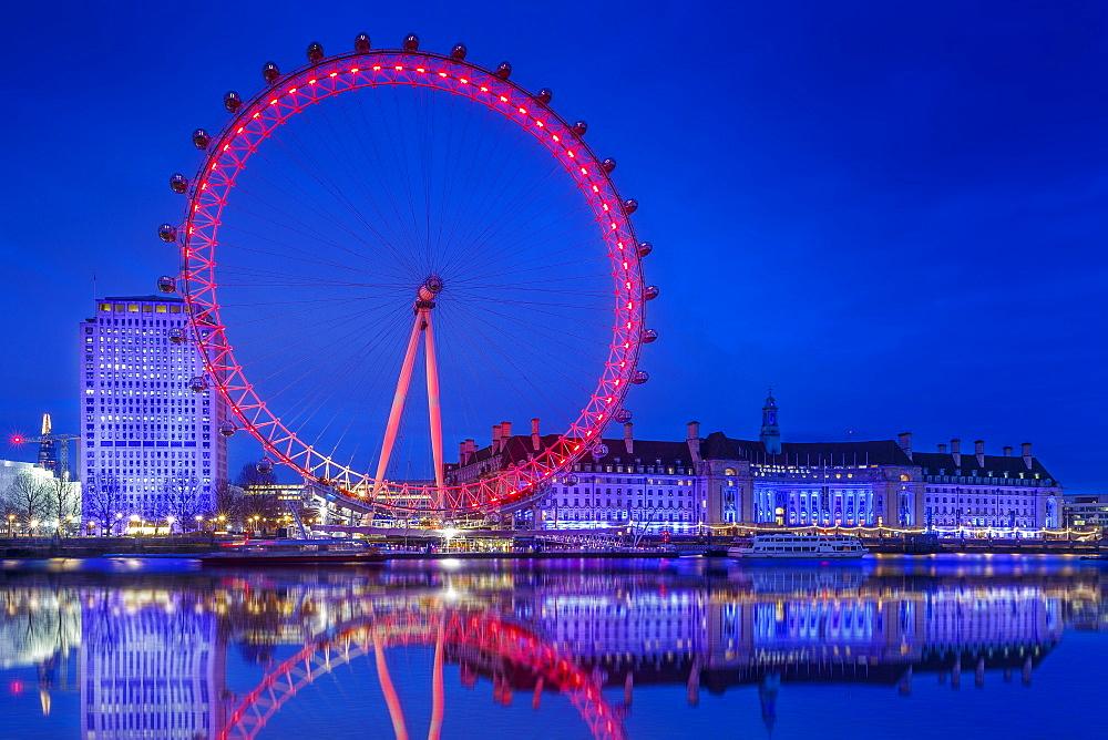 London Eye illuminated at night, London, England, United Kingdom, Europe