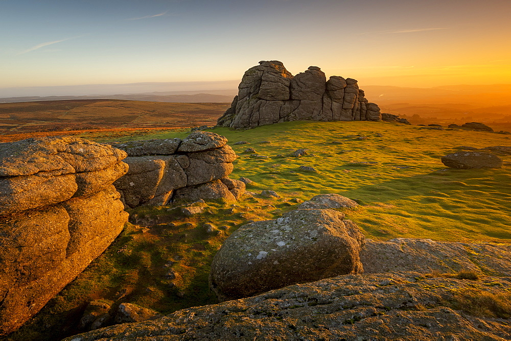 Haytor at sunrise in Dartmoor, England, Europe