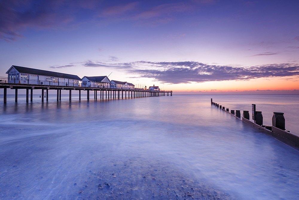Southwold Pier at dawn, Southwold, Suffolk, England, United Kingdom, Europe - 1213-86