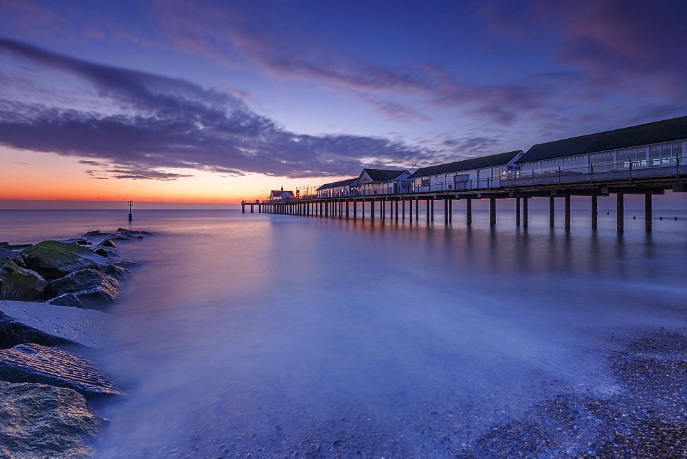 Southwold Pier at dawn, Southwold, Suffolk, England, United Kingdom, Europe - 1213-87