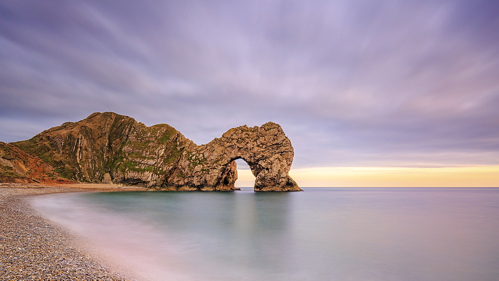 Dusk descends at Durdle Door on the Jurassic Coast, UNESCO World Heritage Site, Dorset, England, United Kingdom, Europe - 1213-98