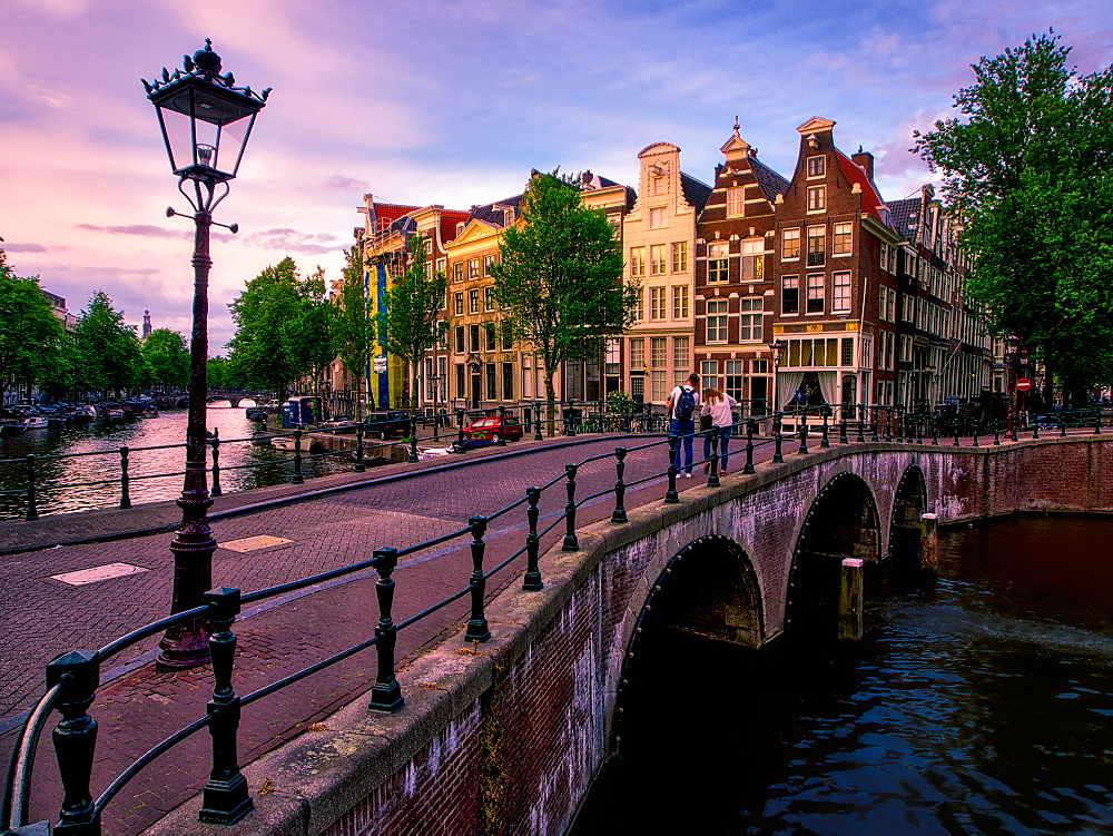 Sunset view of a canal, Amsterdam, The Netherlands, Europe - 1215-41