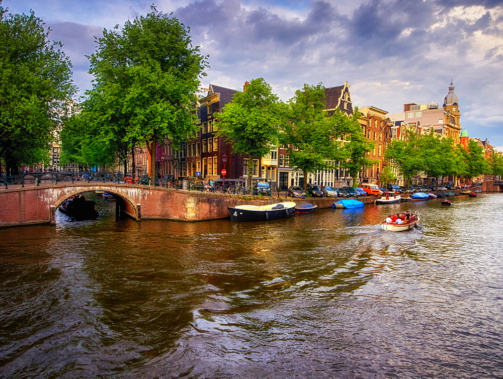 Sunset view of a canal, Amsterdam, The Netherlands, Europe