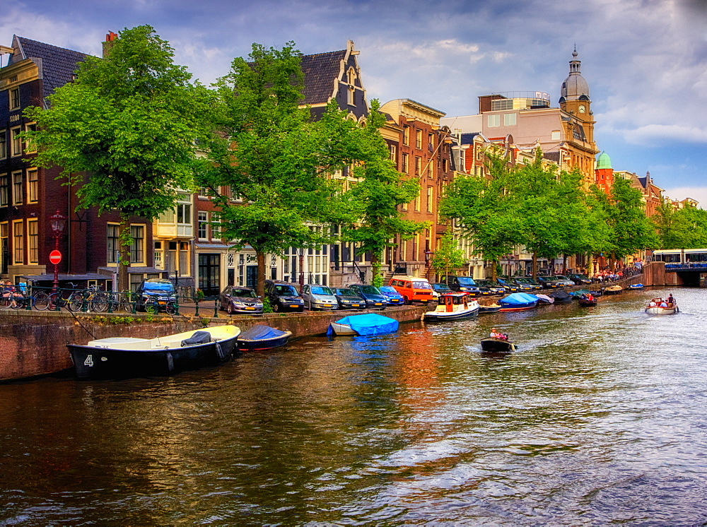 Sunset view of a canal, Amsterdam, The Netherlands, Europe - 1215-43