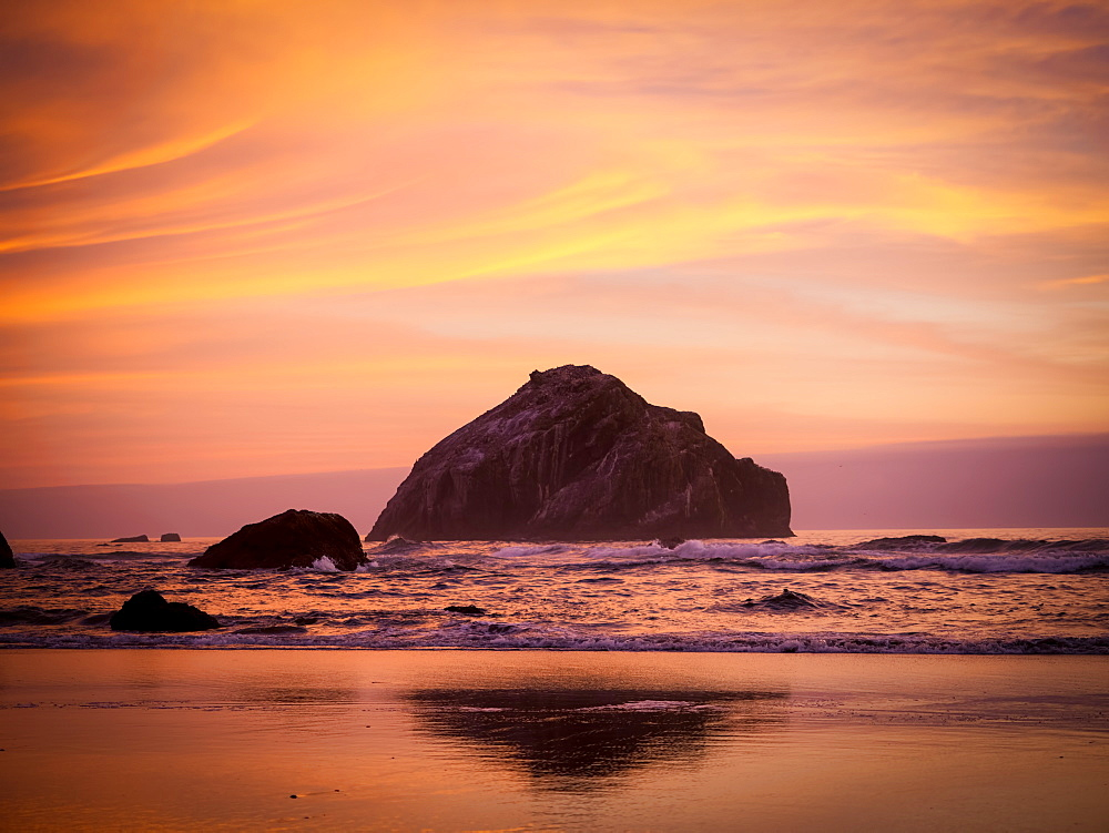 Golden hour at Face Rock, Bandon, Oregon, United States of America, North America - 1215-63