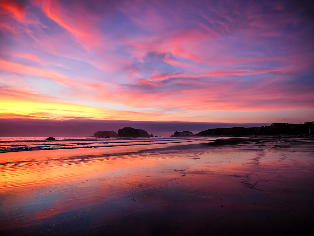 Sunset in Bandon, Oregon, United States of America, North America - 1215-64