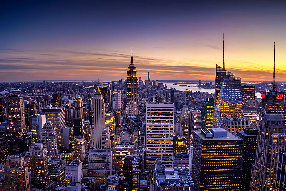 Manhattan cityscape at sunset, New York City, United States of America, North America