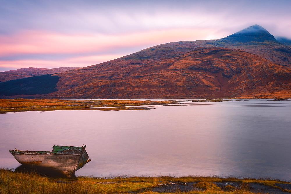 Lone boat on the Isle of Mull, Inner Hebrides, Scotland, United Kingdom, Europe - 1216-102