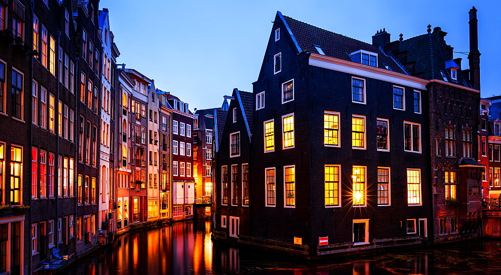 Stock photograph of Amsterdam canal at twilight