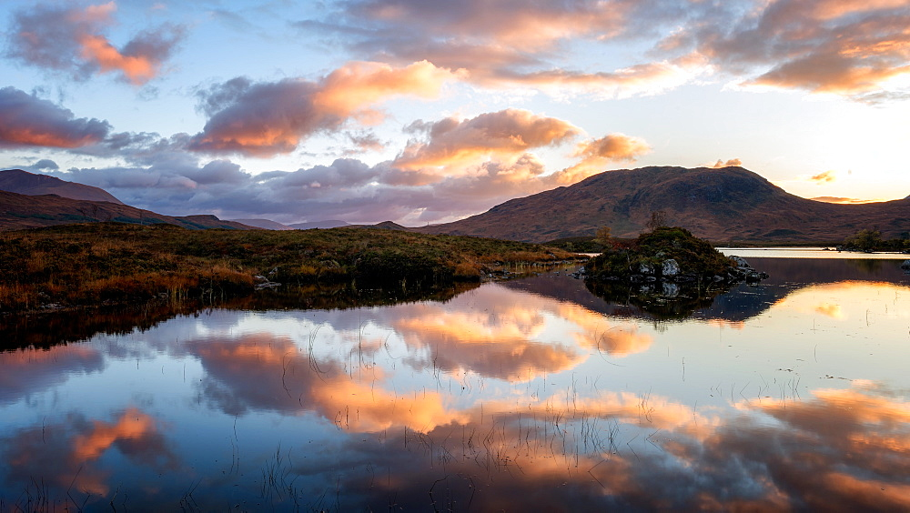 Sunset view across Lochain na h'achlaise at dawn, Rannoch Moor, Highland, Scotland, United Kingdom, Europe - 1216-115