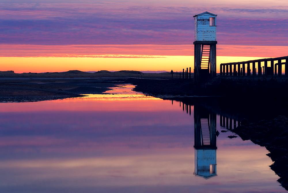 Holy Island Causeway at sunrise, Lindisfarne, Northumberland, England, United Kingdom, Europe - 1216-124