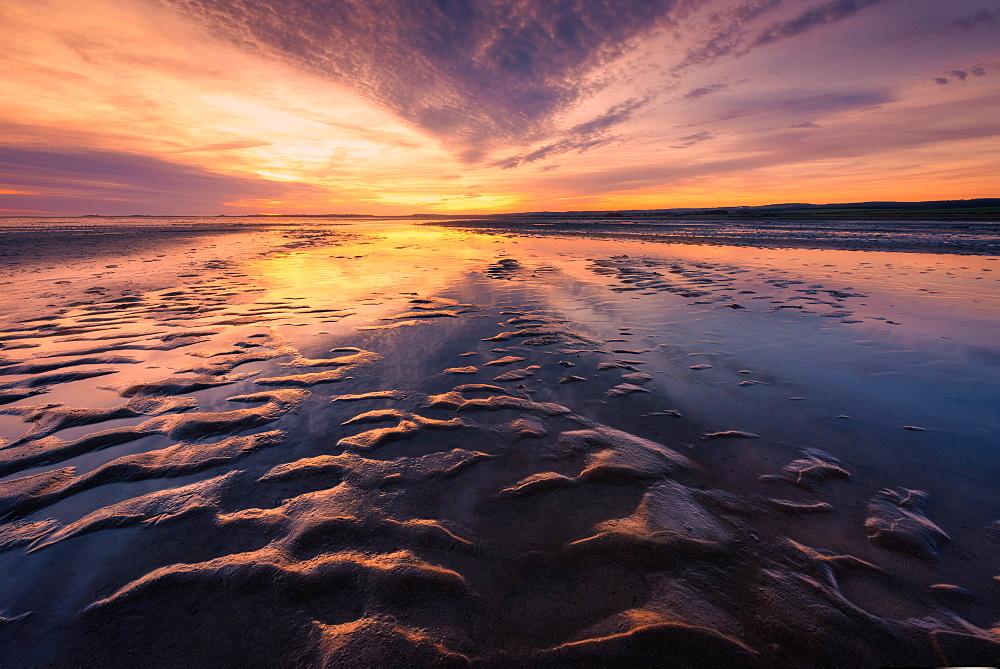 Holy Island Causeway at sunrise, Lindisfarne, Northumberland, England, United Kingdom, Europe - 1216-127
