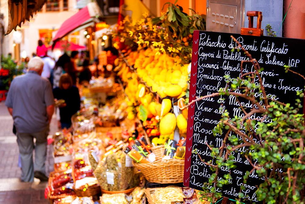 Local food stall, Taormina, Sicily, Italy, Europe