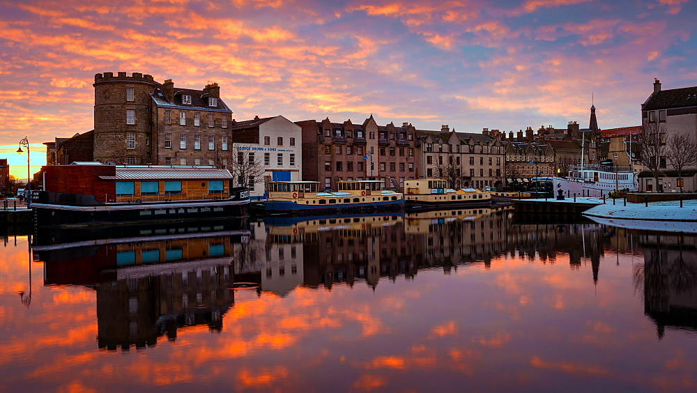 The Shore at sunrise, Leith, Edinburgh, Scotland, United Kingdom, Europe