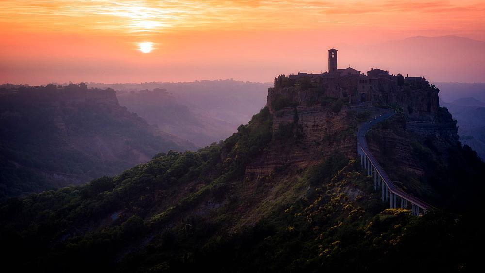 Sunrise at Civita di Bagnoregio, Umbria, Italy, Europe