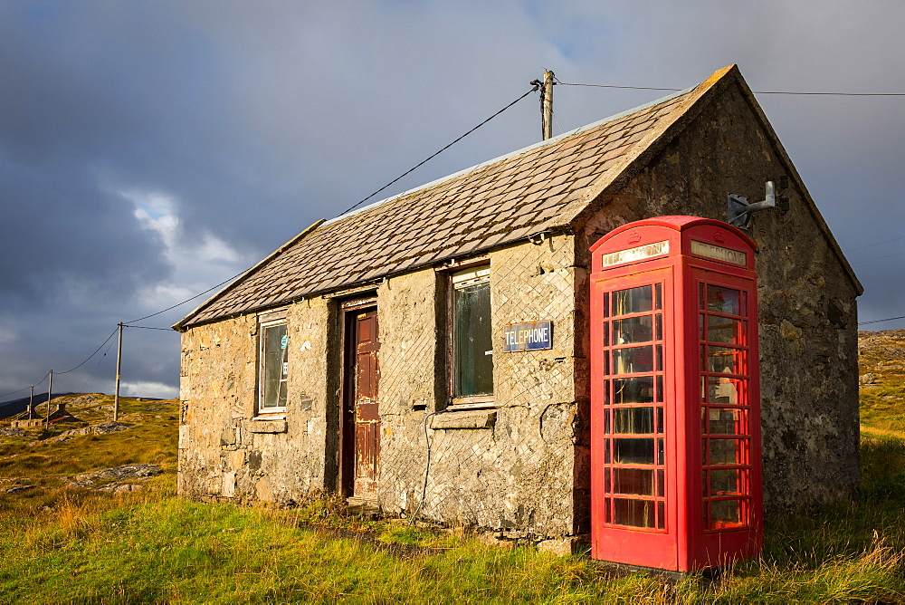 Telephone box, Isle of Harris, Outer Hebrides, Scotland, United Kingdom, Europe