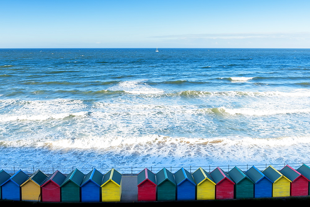 Whitby beach huts, Yorkshire, England, United Kingdom, Europe