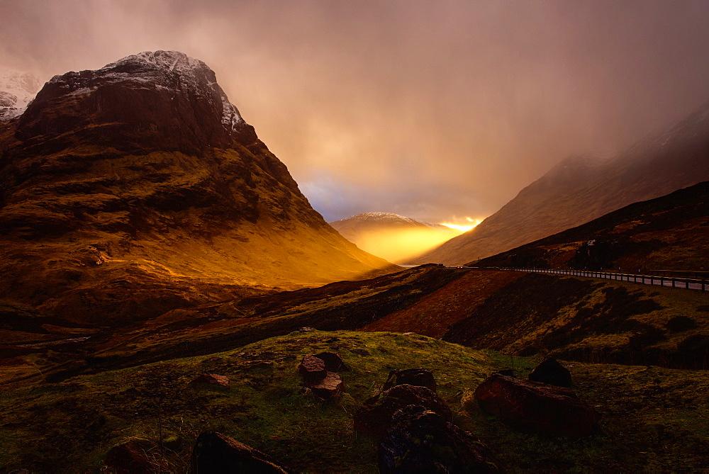 Glencoe in the Scottish Highlands at sunset