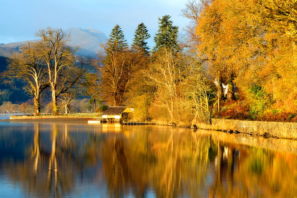 Loch Ard boathouse in autumn, Trossachs National Park, Stirling Region, Scotland, United Kingdom, Europe - 1216-215