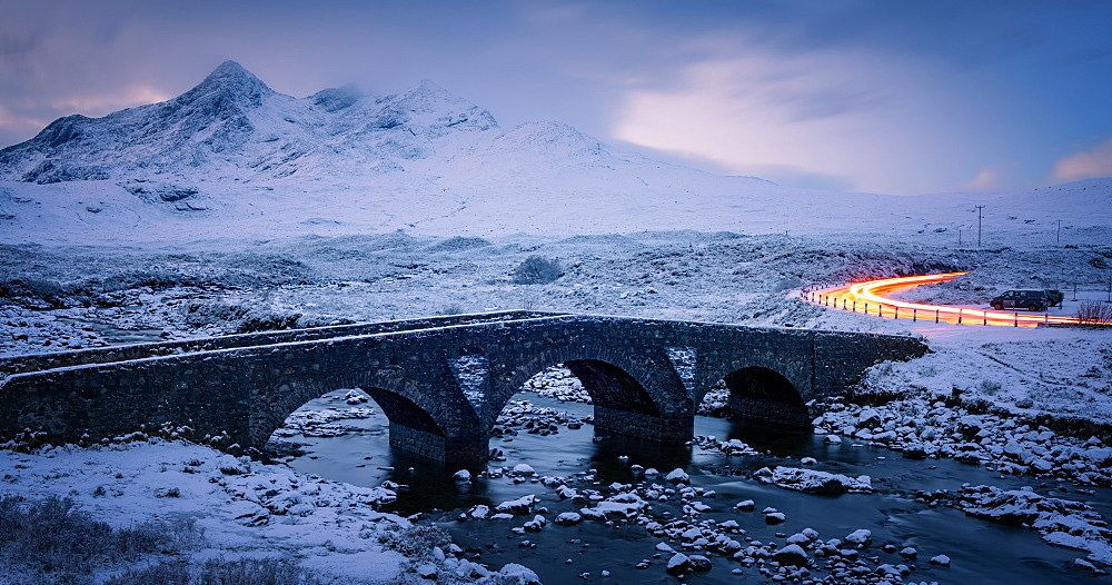 Sligachan Bridge in the snow with car light trails, Isle of Skye, Inner Hebrides, Scotland, United Kingdom, Europe - 1216-244