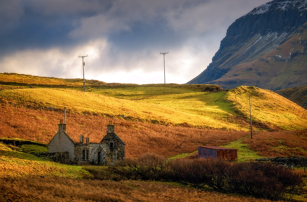 Old Cottage without roof, Isle of Skye, Inner Hebrides, Scotland, United Kingdom, Europe - 1216-245