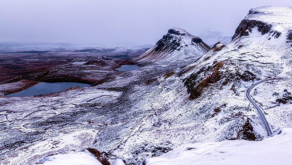 The Quiraing in the snow, Isle of Skye, Inner Hebrides, Scotland, United Kingdom, Europe - 1216-248