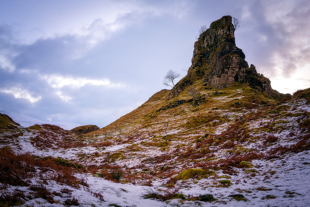 The Castle in the Snow, Fairy Glen, Isle of Skye, Inner Hebrides, Scotland, United Kingdom, Europe - 1216-251