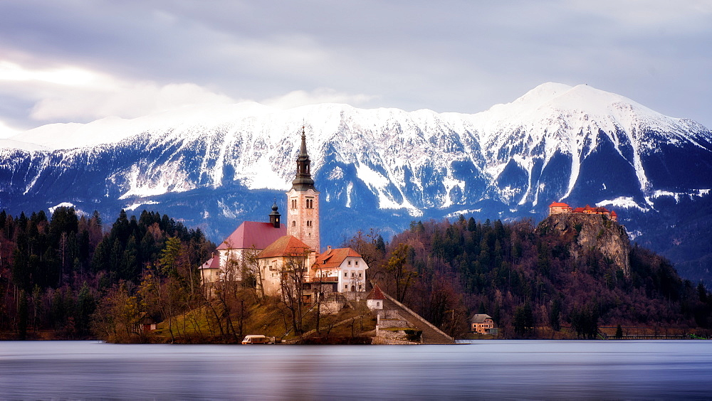 Church of the Assumption and Bled Castle, Lake Bled, Slovenia, Europe - 1216-263