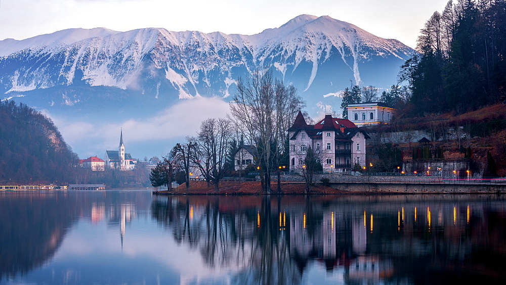 Lake Bled at sunrise, Bled, Slovenia, Europe - 1216-266