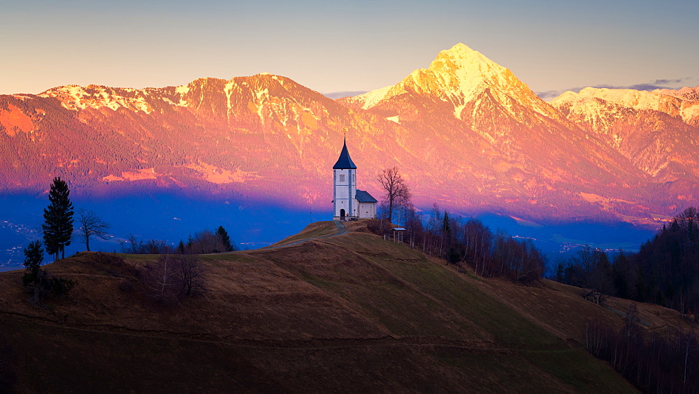The Church of St. Primoz, Jamnik, at sunset, Slovenia, Europe - 1216-269